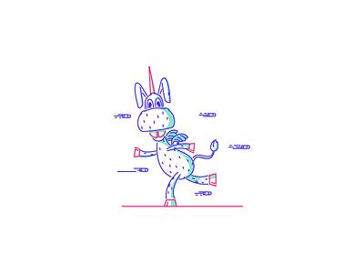 Happy donkey unicorn horse bullets happy graphicdesign illustration