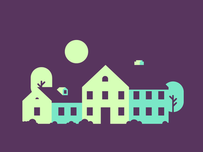 Nightly House bushes moon trees windows house graphic design negative space illustration