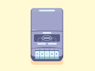 Tape Recorder player cassette retro vintage recorder tape graphic design illustration