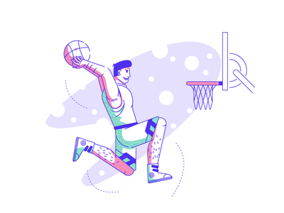 DUNK IT! spotlight basketball player air time basket hoops dunk basketball graphic design illustration