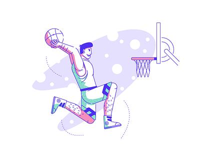 DUNK IT! spotlight basketball player air time basket hoops dunk basketball graphic design illustration