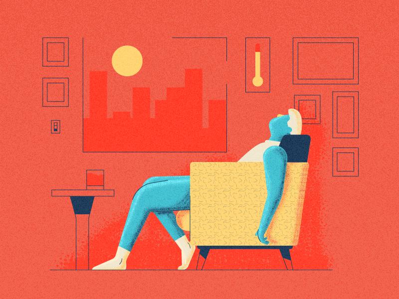 Too Hot! spring summer sun heatwave chair person hot graphic design illustration