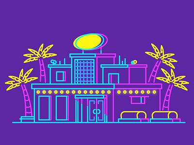 Club! party night club night neon signs palm trees club graphic design illustration