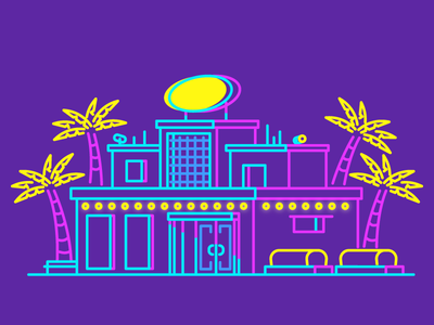 Club! party night club night neon signs palm trees club graphic design illustration
