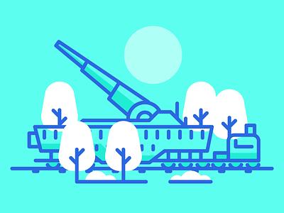 Train Cannon army world war cannon rail track railroad train graphic design illustration