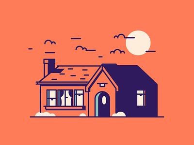 House! sun door windows chimney home house graphic design illustration