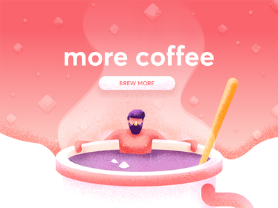 More Coffee relaxing hot tub jacuzzi cubes sugar coffee graphic design illustration