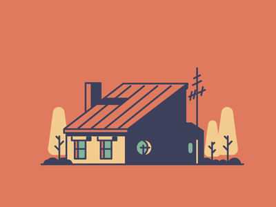 House Nr.2 trees door windows chimney home house graphic design illustration