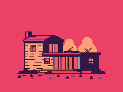 House Nr.3 grass trees door windows chimney home house graphic design illustration