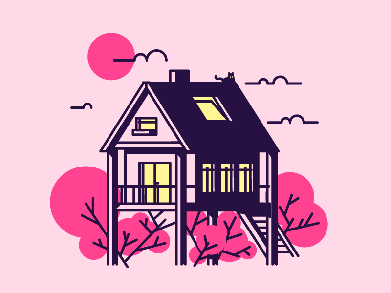 Cherry Tree House clouds sun sky cherry door windows tree home house graphic design illustration