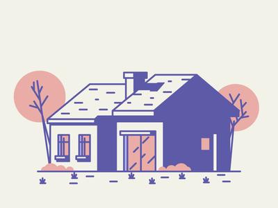 House Nr.8 grass trees door windows garage home house graphic design illustration