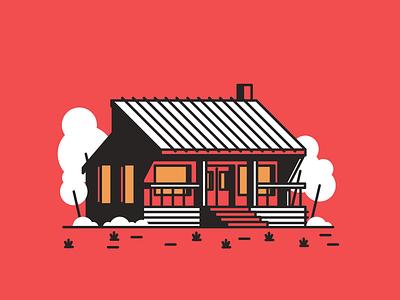House Nr.9 grass trees door windows garage home house graphic design illustration