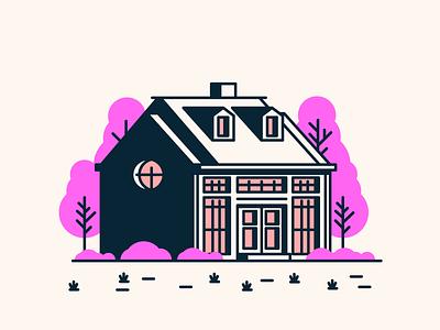 House Nr.10 grass trees door windows garage home house graphic design illustration