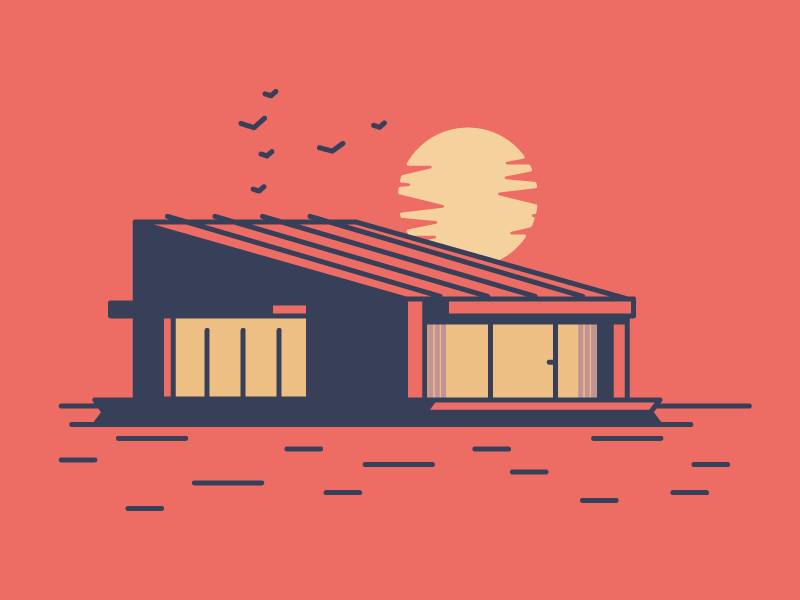 Water House birds sun ocean sea water home house graphic design illustration