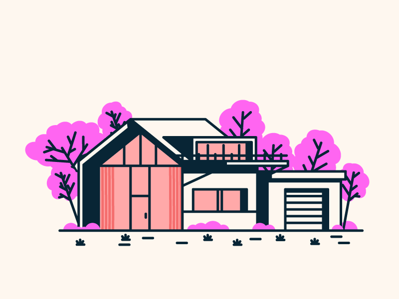 The Final House grass trees door windows garage home house graphic design illustration