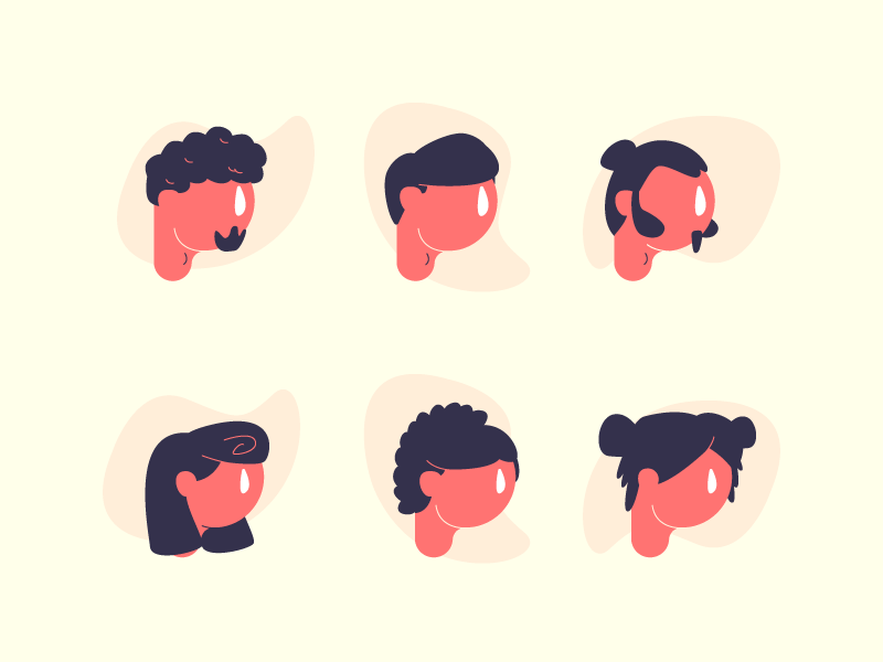 Hairstyles 2 illustration graphic design faces heads hairstyle hairstyles