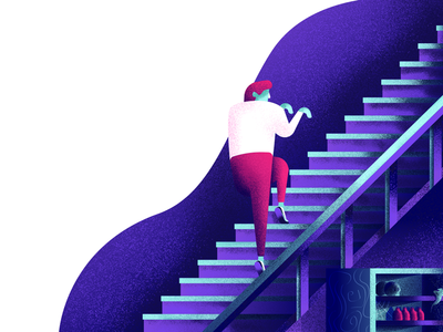 Creepin scary person dude staircase tentacle skull creep stairs graphic design illustration