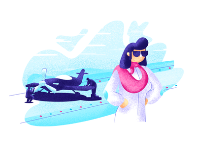 Airplane Pilot textures hairstyle glasses pose strong woman flying airplane pilot graphic design illustration