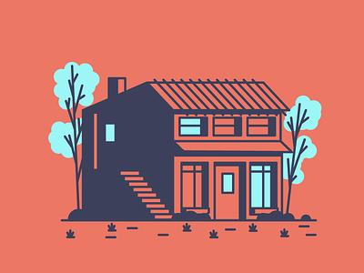 Blue trees grass trees door windows garage home house graphic design illustration