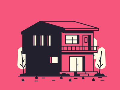 Red House grass trees door windows garage home house graphic design illustration