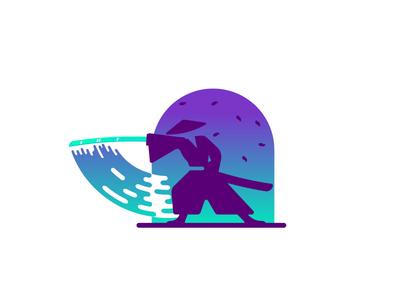 Samurai Swoosh negative space awesome gradient leaves swoosh samurai sword graphic design illustration