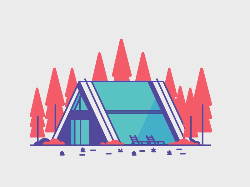 The Pines grass trees door windows garage home house graphic design illustration