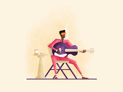 Blues african american guitar playing singing smoking blues graphic design illustration