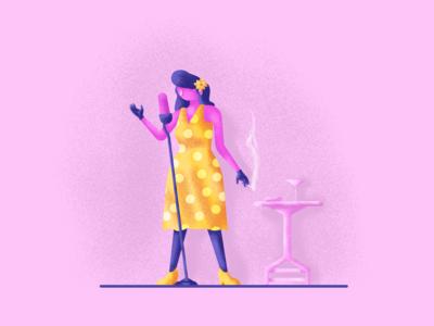 Swing Singer polka dot flower swing smoke singer graphic design illustration