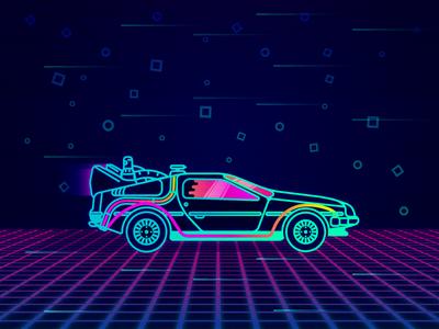 Neon DeLorean! speed retro neon delorean back to the future car illustration