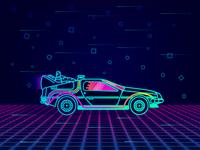 Neon DeLorean!