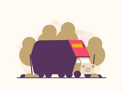 Car Test flat trees pickup truck car illustration