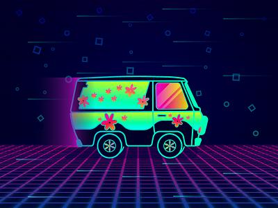 Neon Mistery retro neon funky scooby doo mistery machine car graphic design illustration