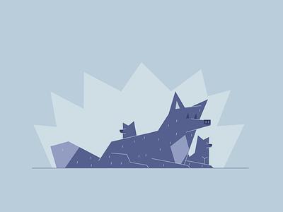 Alarmed listening alarmed furry wolf fox graphic design illustration