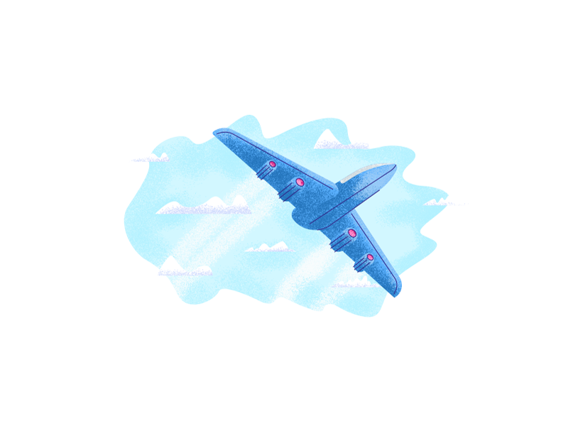 Airplane Away travel future plane engines trail smokes away airplane graphic design illustration