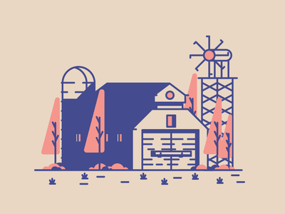 Barn village trees windmill silo barn graphic design illustration