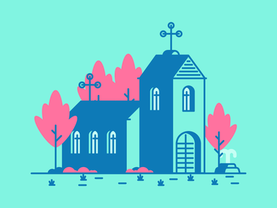 Church architecture cross fountain trees church graphic design illustration