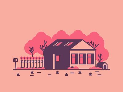 Flower House grass trees door windows garage home house graphic design illustration