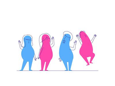 The Divios jumping waving happy people divio graphic design illustration