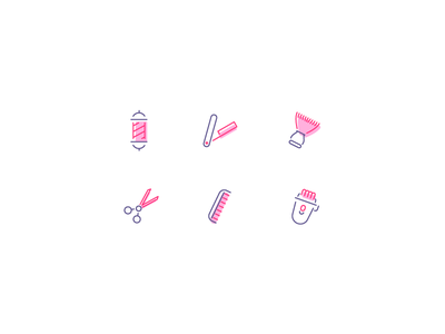 Barber Shop Icons barber shop comb blade barber graphic design illustration