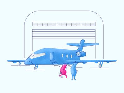 Business Airplane pilot private jet jet hangar business woman divio people graphic design illustration