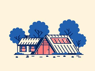 New House grass trees door windows garage home house graphic design illustration