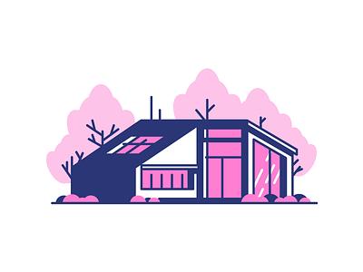 New House 2 grass trees door windows garage home house graphic design illustration
