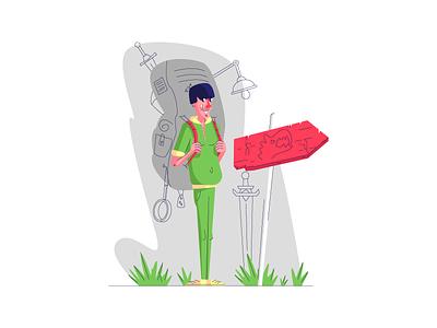 Young Adventurer lamp danger sword pricetag backpack adventurer person graphic design illustration