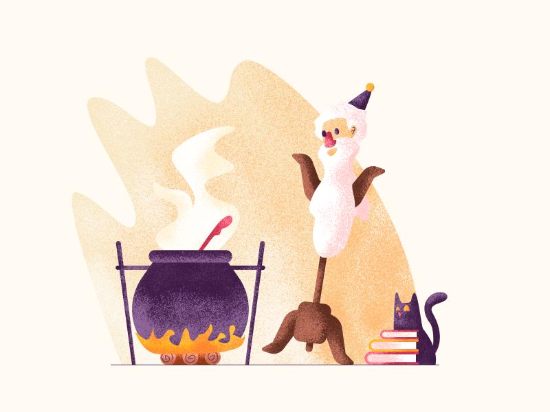 Spellcaster beard magic books fire wizard cat spellcaster graphic design illustration