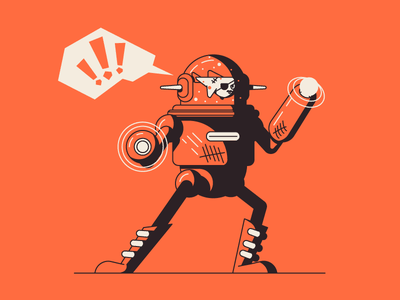 Daphne The Bounty Hunter stop fish laser woman robot graphic design illustration