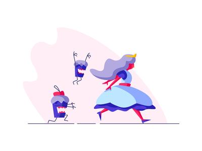 Princess run evil cupcakes princess graphic design illustration