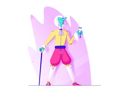 Aristrocrat baron lord drinking wig cane smug posh aristocrat graphic design illustration