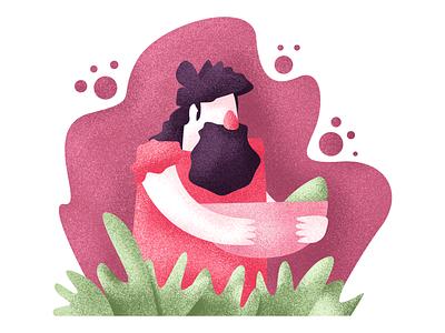 Savage long hair beard vegetarian grass caveman savage graphic design illustration
