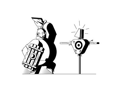 Squire training medieval squire dummy sword shield graphic design illustration