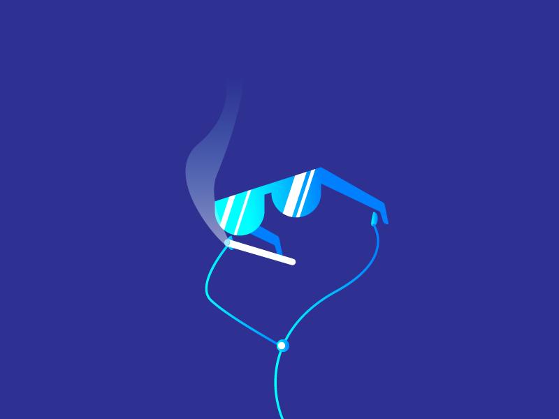 Invisibile music smoking glasses boombox person earpods graphic design illustration